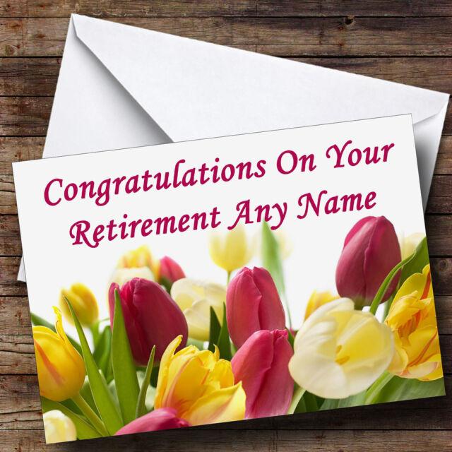 tulips personalised retirement greetings card ebay
