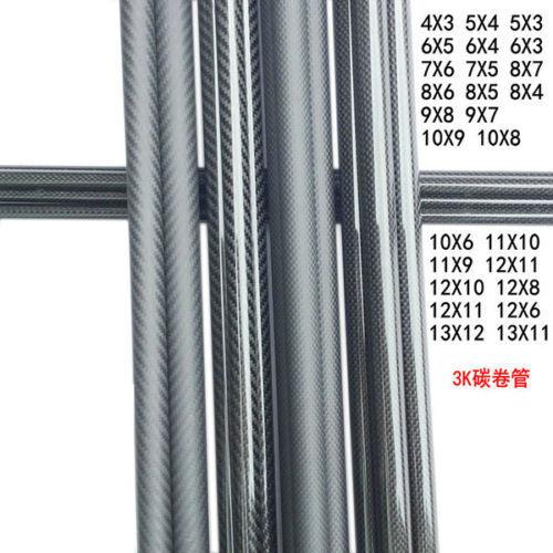 2Pcs tubo de fibra de carbono 4mm/5mm/6mm/7mm/8mm/9mm/10mm/11mm/12mm (OD) longitud 50cm