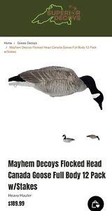 Mayhem-Decoys-Flocked-Head-Canada-Goose-Full-Body-12-Pack-w-Stakes-New