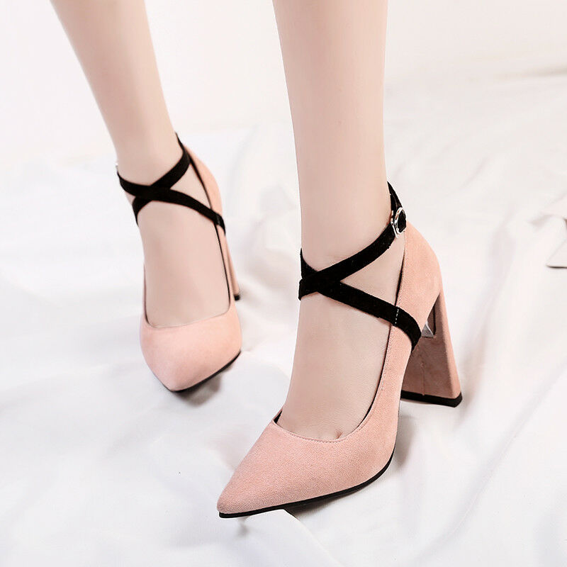 Women's Suede Fabric Pointed Pointed Pointed Cross Strap Pumps Plus Size High-Heeled Dress shoes 207949