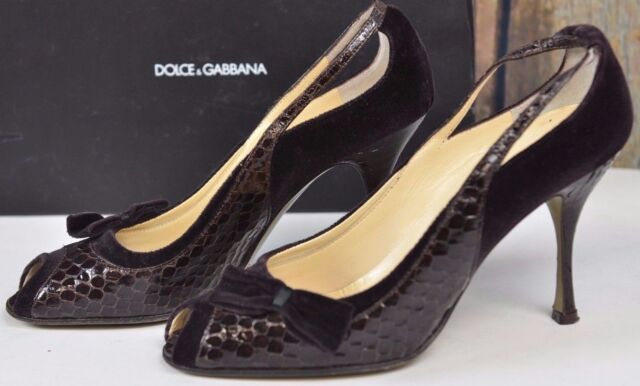 68bf4679a37 Dolce Gabbana Kitten Heel Open Toe Snakeskin PUMPS Size 37 Italy Size 7 US  Bow