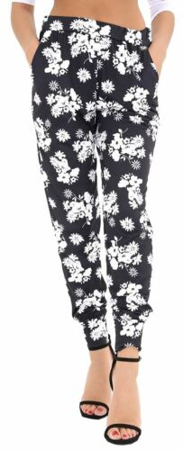 Ladies 2 Pocket Full Length Elasticated Waist Floral Print Trousers Pants 8-26