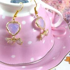 fairy kei / sweet lolita / hime milky heart gold plated earrings