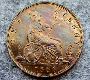 GREAT-BRITAIN-QUEEN-VICTORIA-1886-ONE-PENNY-HIGH-GRADE