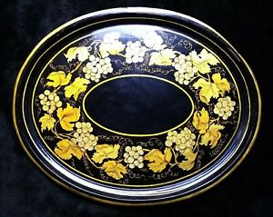 "Vintage Hand Painted Oval Toleware Tray 22"" x 17 3/8""  Black Gold Floral Signed"
