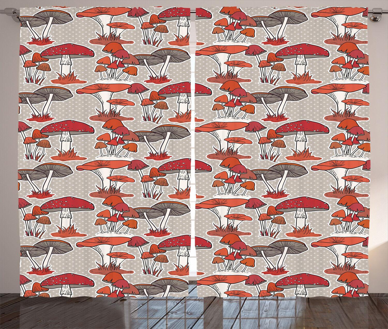 Woodland Mushroom Curtains 2 Panel Set Decoration 5 Dimensiones Window Drapes