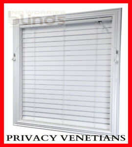 Ready Made PRIVACY White Venetians Blinds 63mm Econo Wood PVC Timber Look Blind