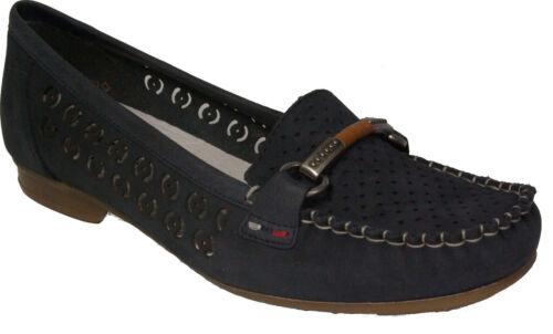 Rieker Chaussures Basses Mocassins cuir veritable bleu latex semelle NEUF