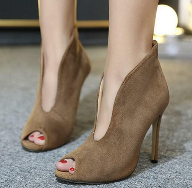 Womens Pull On Ankle Boots Peep Toe V Cut Front Sandals Party shoes Stilettos