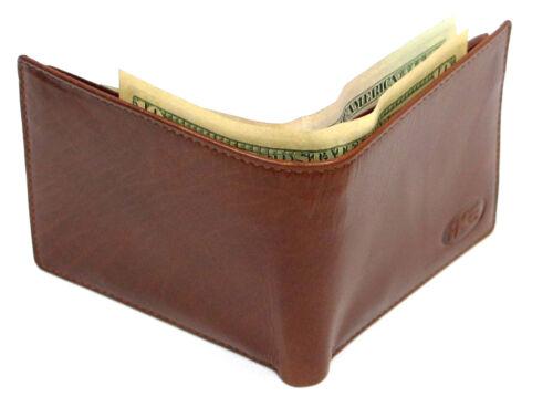 High Quality Italian Leather Men/'s Wallet Bi-fold Brown Trifold Black Cognac