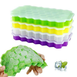 HONEYCOMB-SHAPE-ICE-37-SLOT-TRAY-MOLD-STORAGE-SILICONE-CONTAINER-WITH-LID