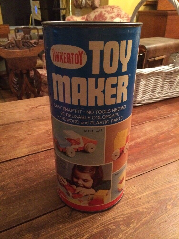 Vintage Tinkertoy  Toy Maker  92 Pieces Hardwood & Plastic Pieces