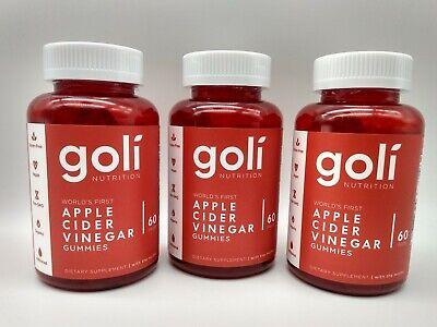 3 Pack Goli Nutrition Apple Cider Vinegar Gummies (180 ...