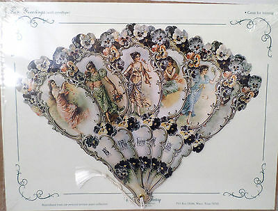 Vintage Inspired Victorian Paper Fan Greeting Card A Token Of Love Romantic New