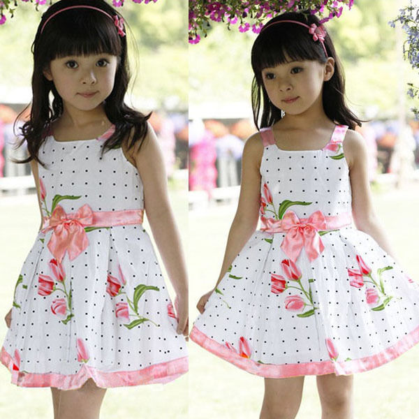 Kids Girls Princess Sleeveless Dress Bowknot Floral Skirt Party Dress 2-6Y