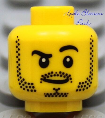 Dino//City//Castle//Kingdom//Pirate NEW Lego Police MINIFIG HEAD Boy w//Black Beard