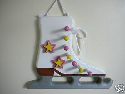 Yellow /& Pink Wooden Ice Skate Medal Display