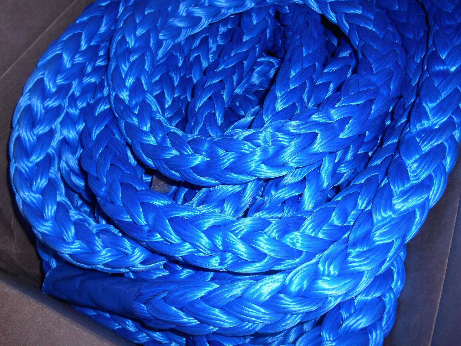 25' of 1-3 8  bluee Dyneema SK-78 12 Strand AmSteel-bluee 185,000 lb Tensile