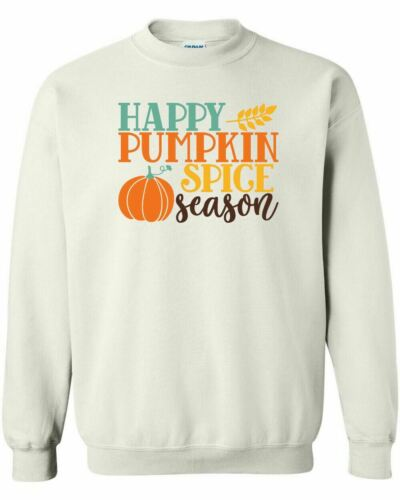 Happy Pumpkin Spice Season Crewneck Sweatshirt Fall Leaves Thanksgiving Bonfire
