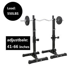 Pair of Adjustable Rack Sturdy Steel Squat Barbell Bench Press Stands Gym Home