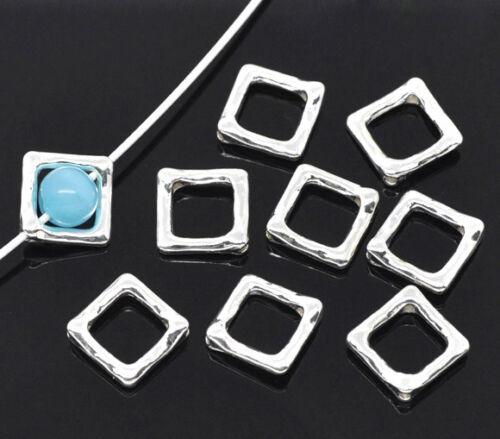 HS 50 Versilber Quadrat Rahmen Metallperlen Beads 12x12mm