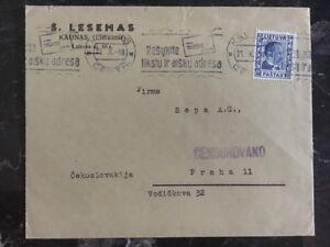 1938 Kaunas Litauen Zensiert zu Prag Sudetenland Crisis
