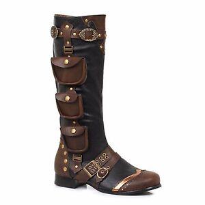 Details about Black Brown Gold Steampunk Pirate Captain Renaissance Fair Costume Mens Boots