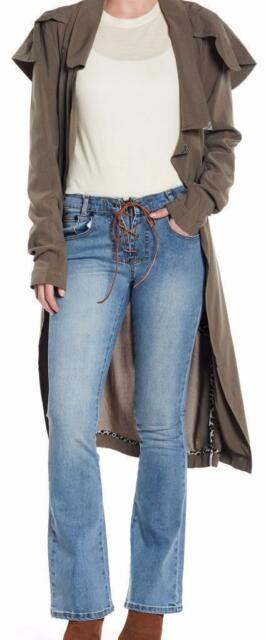 $200 One Teaspoon Sissy Lace-Up Flare Cobain Blue Jeans Size 12 New with Tag