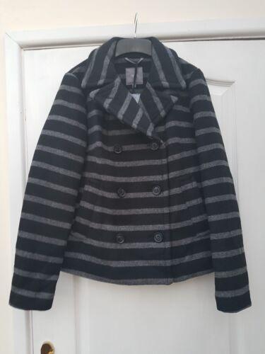 Cappotto a Reefer doppio elegante 10 lana petto con misto a grigio colletto righe Successivo scuro UdTxwU