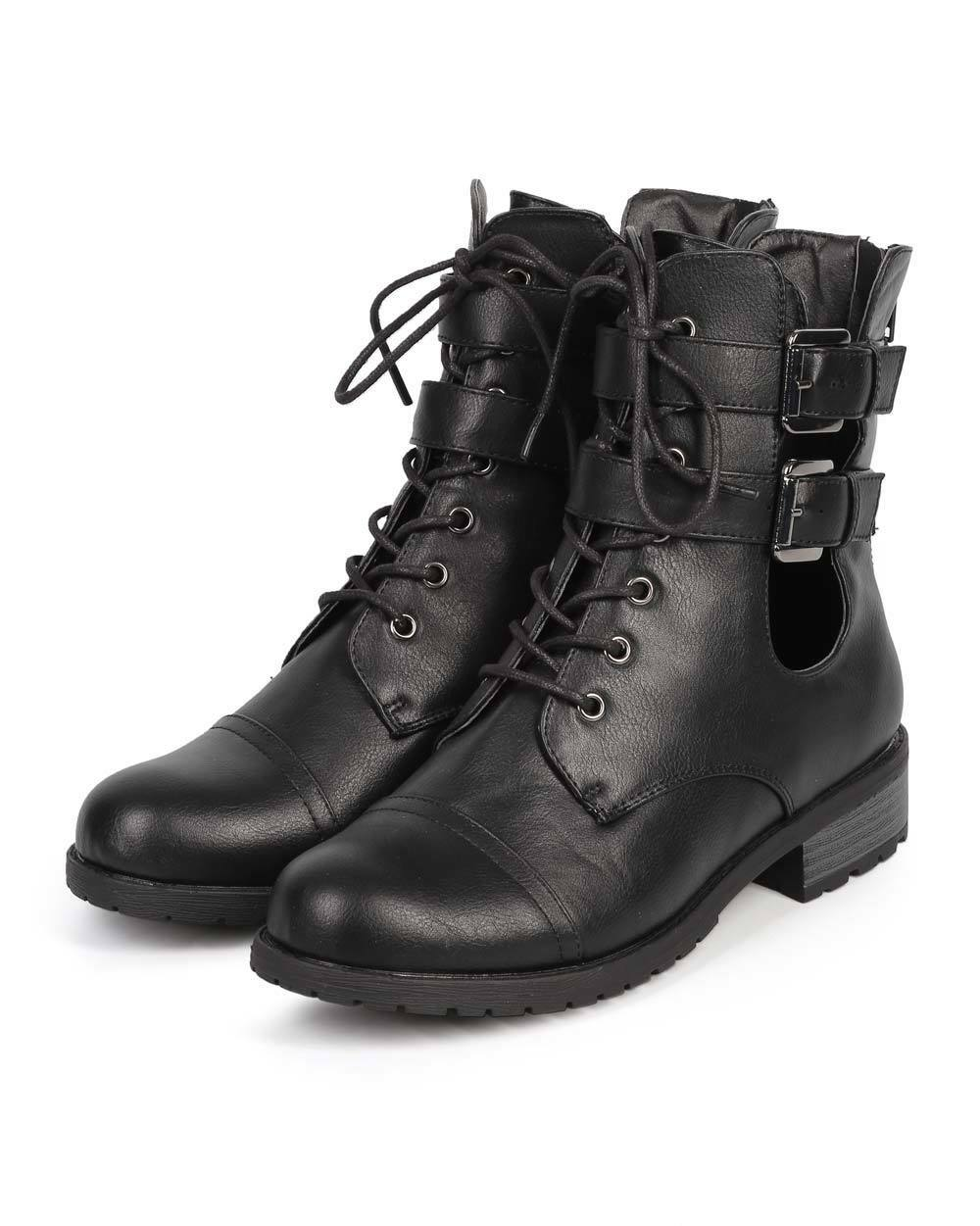 New Women Wild Diva Timberly-169 Leatherette Strappy Cutout Buckle Combat Boot
