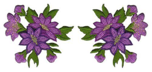Ag17 flores set 2 trozo lila Patch perchas imagen aplicación Patch ramo parchear