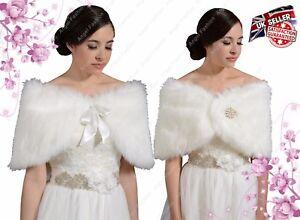 0919319e096 New Elegant Faux Fur Bridal Wedding Winter Wrap Bolero Coat Shawl ...