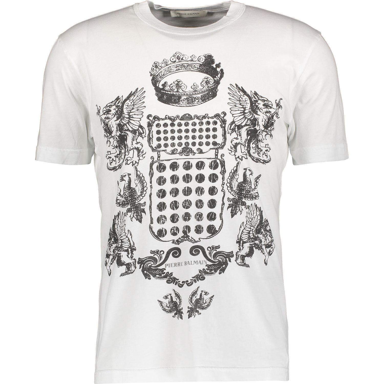 New PIERRE BALMAIN Weiß Coat of Arms Print T Shirt XL