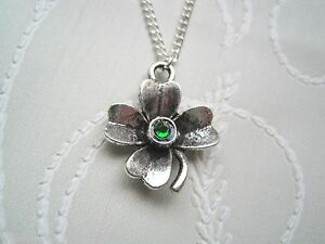 GREEN-RHINESTONE-LUCKY-4-LEAF-CLOVER-CHARM-Necklace-SP-chain-St-Patricks-Day