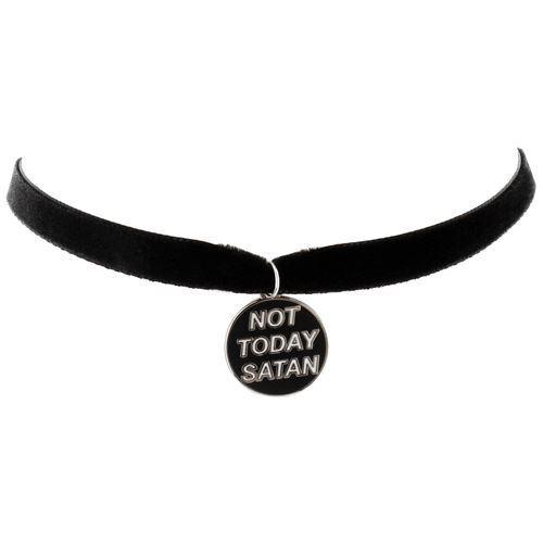 Kropfband mit Anhänger Not Today Satan Enamel Pendant