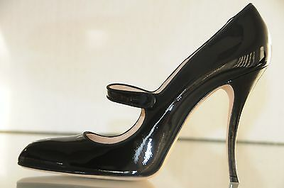 $745 NEW MANOLO BLAHNIK Campy Campari Mary Jane Black Patent Pump SHOES 41.5 41