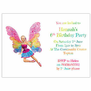 Personalised birthday party invitations or thank you cards barbie image is loading personalised birthday party invitations or thank you cards filmwisefo Images