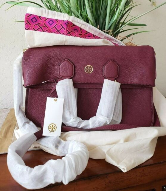 fa6b58ca696 TORY BURCH ROBINSON PEBBLED FOLD-OVER MESSENGER DEEP BERRY LEATHER+DUSTER  NWT