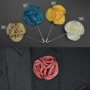 EB-AD-JT-Men-039-s-Lapel-Rose-Daisy-Flower-Handmade-Boutonniere-Stick-Brooch-Pin