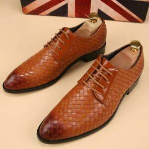 Mens-Oxfords-Leather-Shoes-European-Dress-Formal-Business-Casual-Pointed-Toe