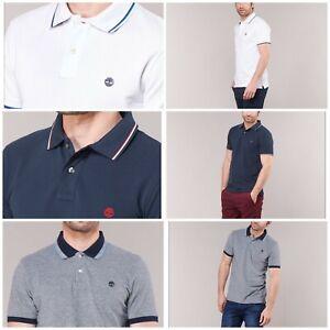 Timberland-Men-039-s-Tipped-Pique-Polo-Shirt-Cotton-Polo-Shirt-100-Genuine