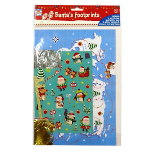 Santas footprints with stencil glitter world map sticker sheets image is loading santa 039 s footprints with stencil glitter world gumiabroncs Choice Image