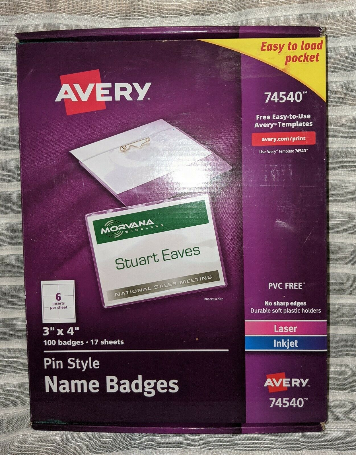 Avery Pin-Style Name Badge Holders with Inserts, 3 x 4, 100 Badges (AVE74540)