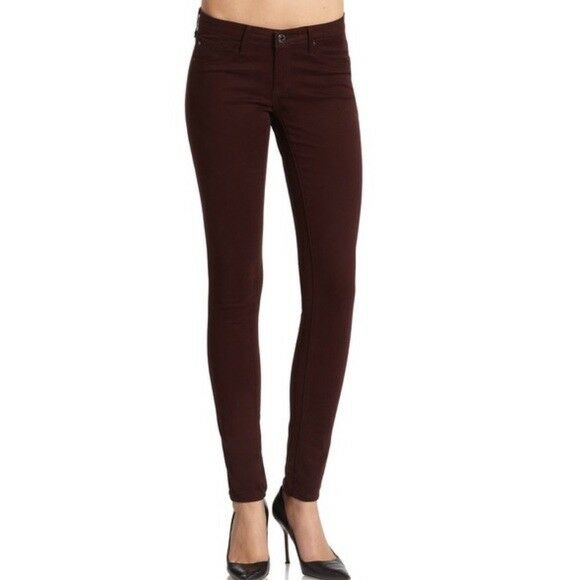 AG Adriano goldschmied The Legging Super Skinny Bordeaux Red Wine Size 32R