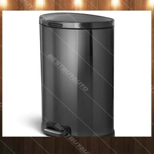 Details about HomeZone 45 L Black Stainless Steel Semi Round Kitchen Trash  Can Step 12 Gallon