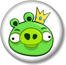 "Angry birds green pig 25mm 1"" Pin Button Badge iPhone iPad App Computer Game Fun"