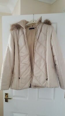 Oasis Ivory Sophia Removable Fur Collar Winter Trench Slim Coat Jacket 6 to 14