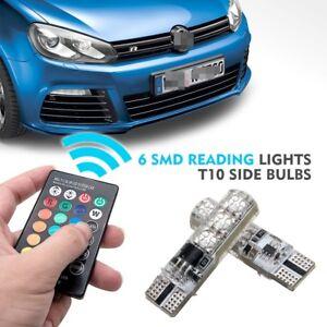 2xLED-RGB-T10-5050-6SMD-Remote-Control-Color-bulb-Strobe-Parking-light-Car-lamp