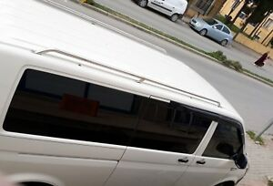 VW T5 T6 TRANSPORTER LWB POLISHED STAINLESS OE STYLE BLACK ROOF RAILS ROOF BARS
