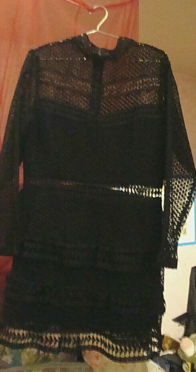 Y.A.S. schwarze Spitze Stufenlook Kleid NEU Gr. XL  38 - 40 NP